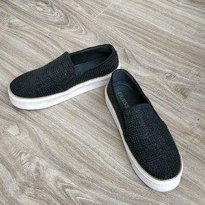 Guess slip on black studded sneaker gold details